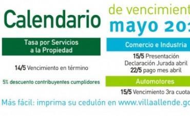Municipalidad de Villa Allende. Vencimientos mayo