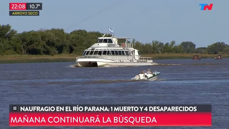 Naufragio en el río Paraná: hay un muerto y cuatro desaparecidos