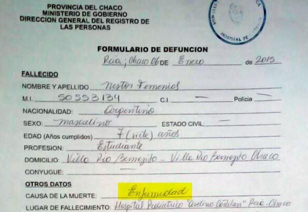 El certificado del nene Qom oculta la causa de muerte