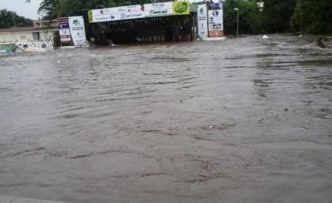 Villa Allende bajo el agua.