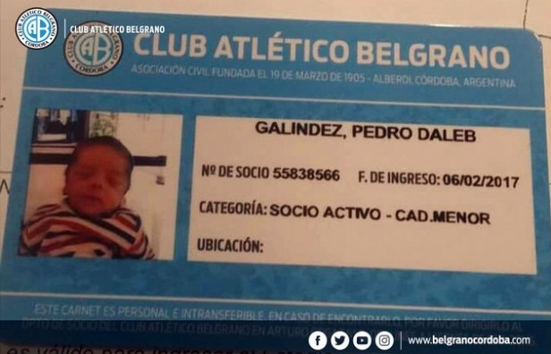Un fanático de Belgrano le puso a su hijo