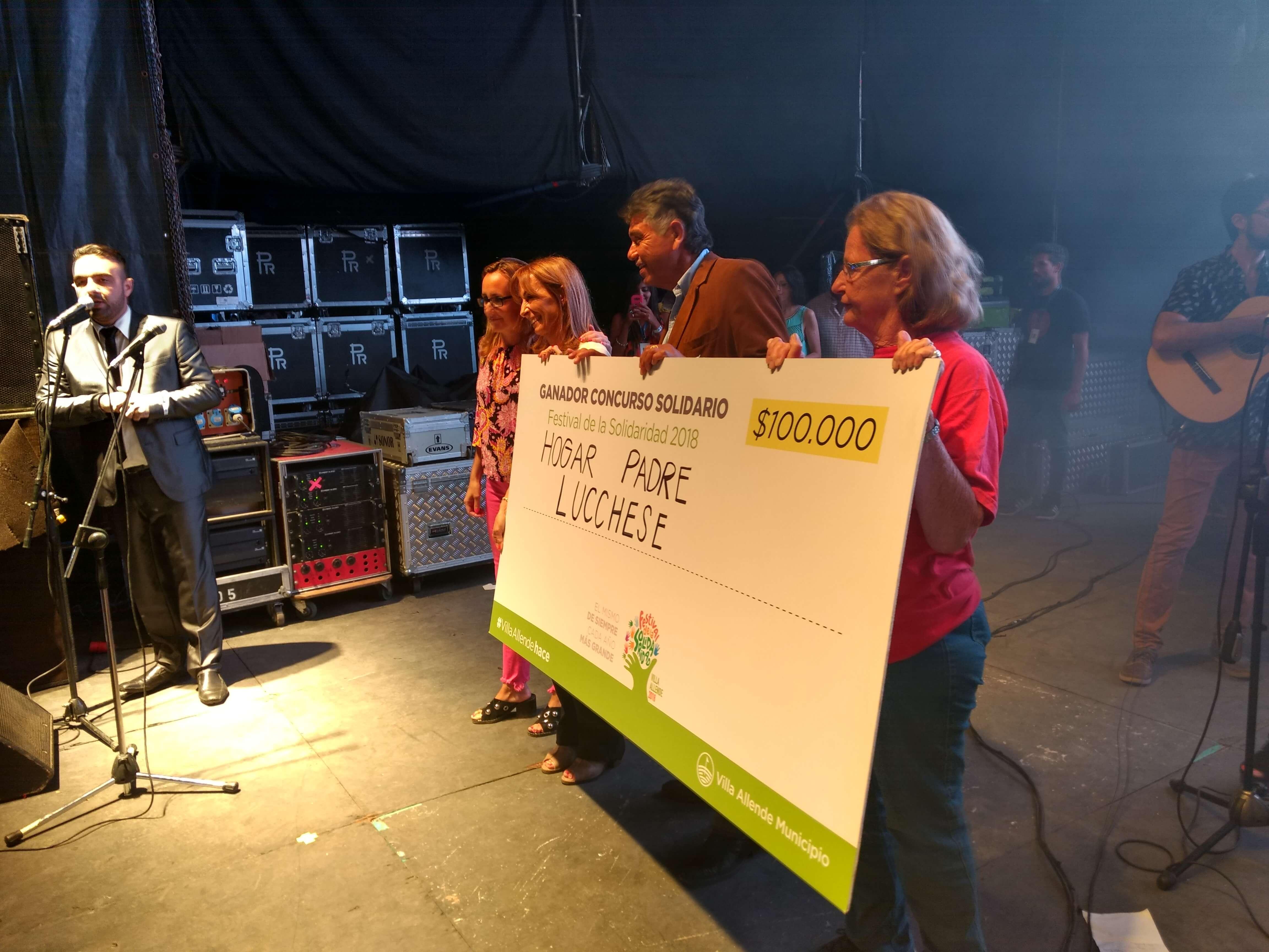 Hogar Padre Luchesse fue el ganador de los 100mil pesos donados por la Municipalidad