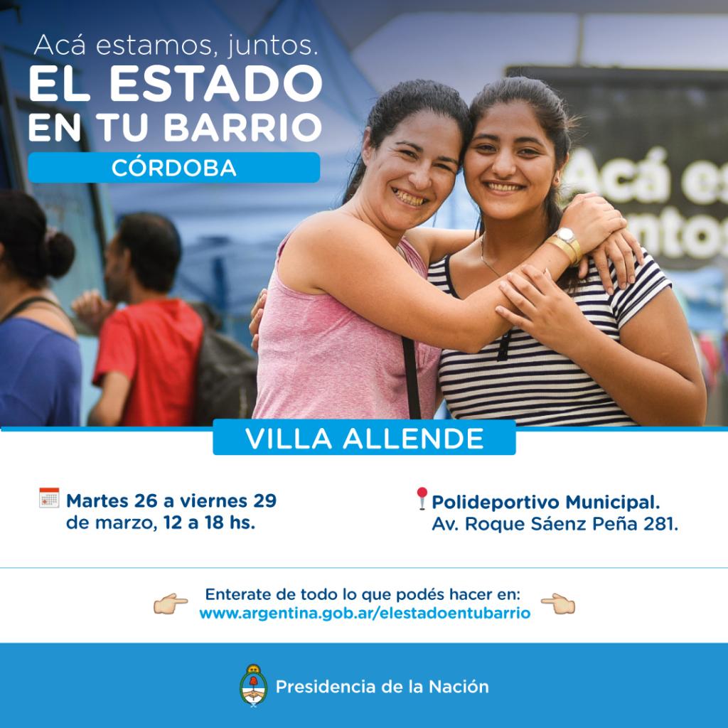 """El Estado en tu Barrio"""" vuelve a Villa Allende"""
