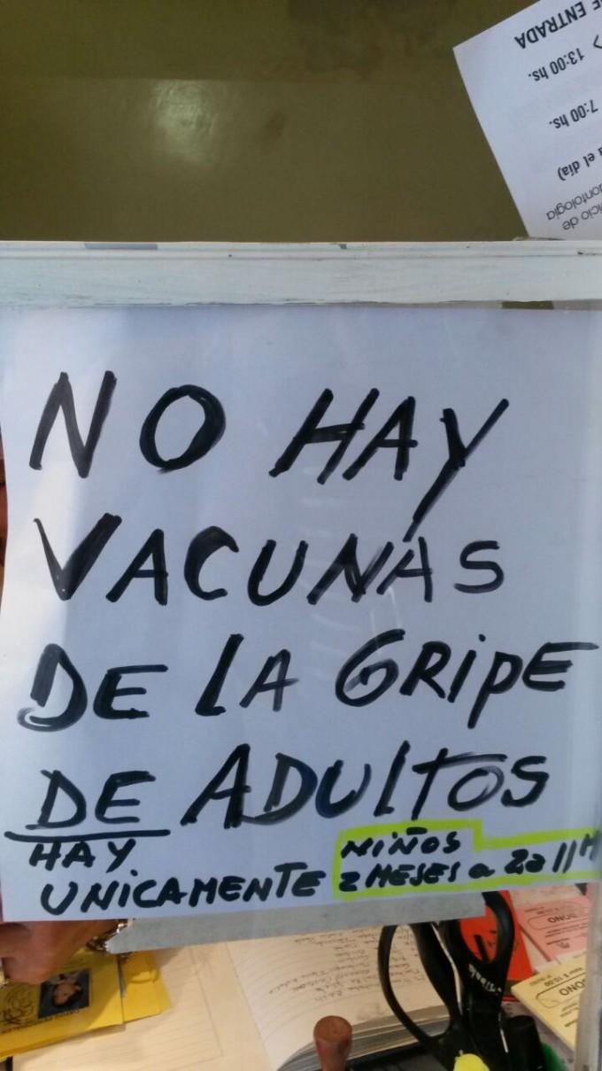 Sin vacuna antigripal para adultos en el Hosp. Josefina Prieur