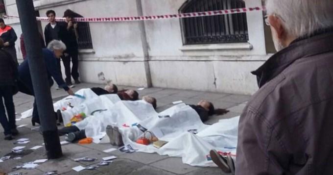 Por la paz, simulan atentado en embajada de Siria