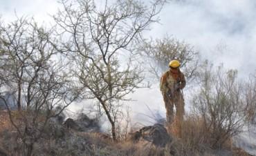 Combaten incendio en la Quebrada del Condorito