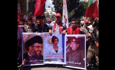 Cristina aparece junto a Chávez y al líder de Hezbollah en una marcha en Gaza