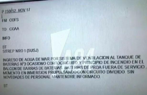 La transcripción del último contacto del submarino fue difundida por el canal A24